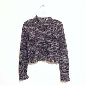 Silk Cotton Turtleneck Fringe Crop Sweater!